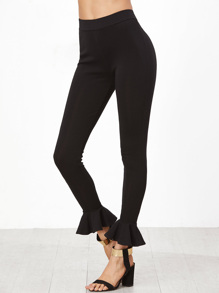 Leggings Con Orlo Increspato - Nero