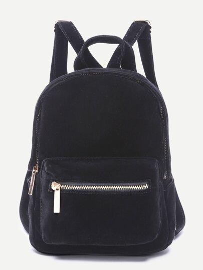 Black Pocket Front Double Handle Velvet Backpack