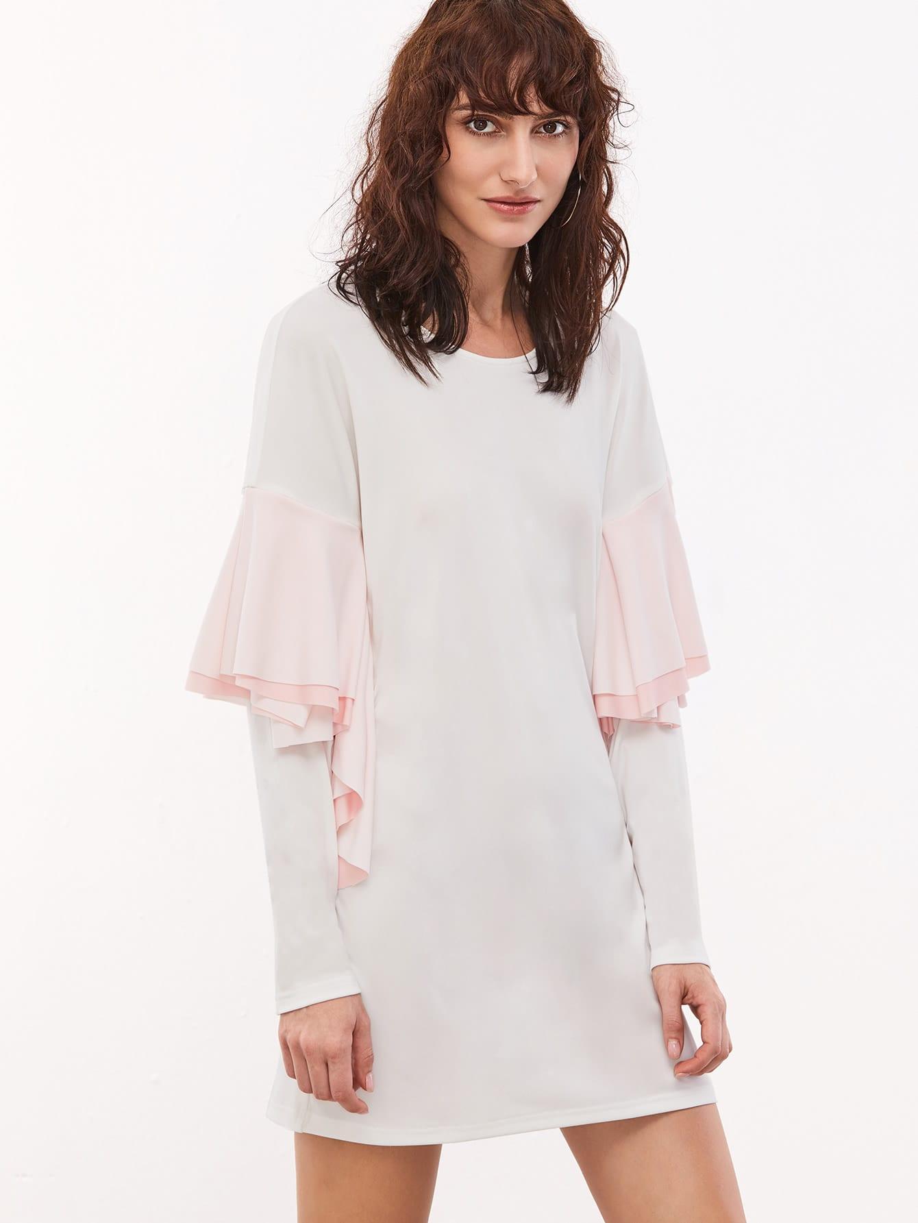 White Drop Shoulder Contrast Ruffle Trim Shift Dress dress161130717