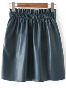 Dark Green Elastic Waist PU Skirt