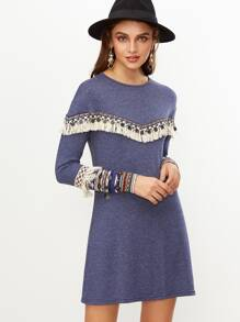 Blue Marled Dress With Coin Fringe And Embroidered Tape Detail