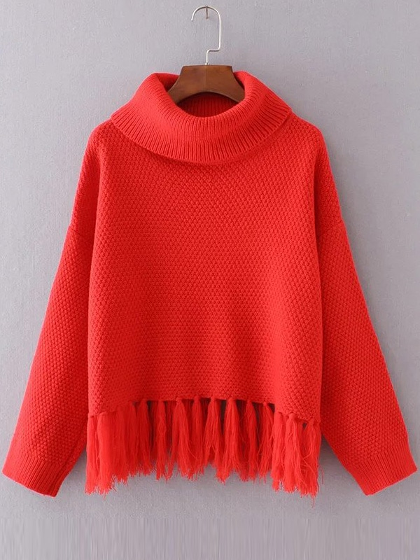 Red Turtleneck Drop Shoulder Fringe Hem SweaterRed Turtleneck Drop Shoulder Fringe Hem Sweater<br><br>color: Red<br>size: one-size