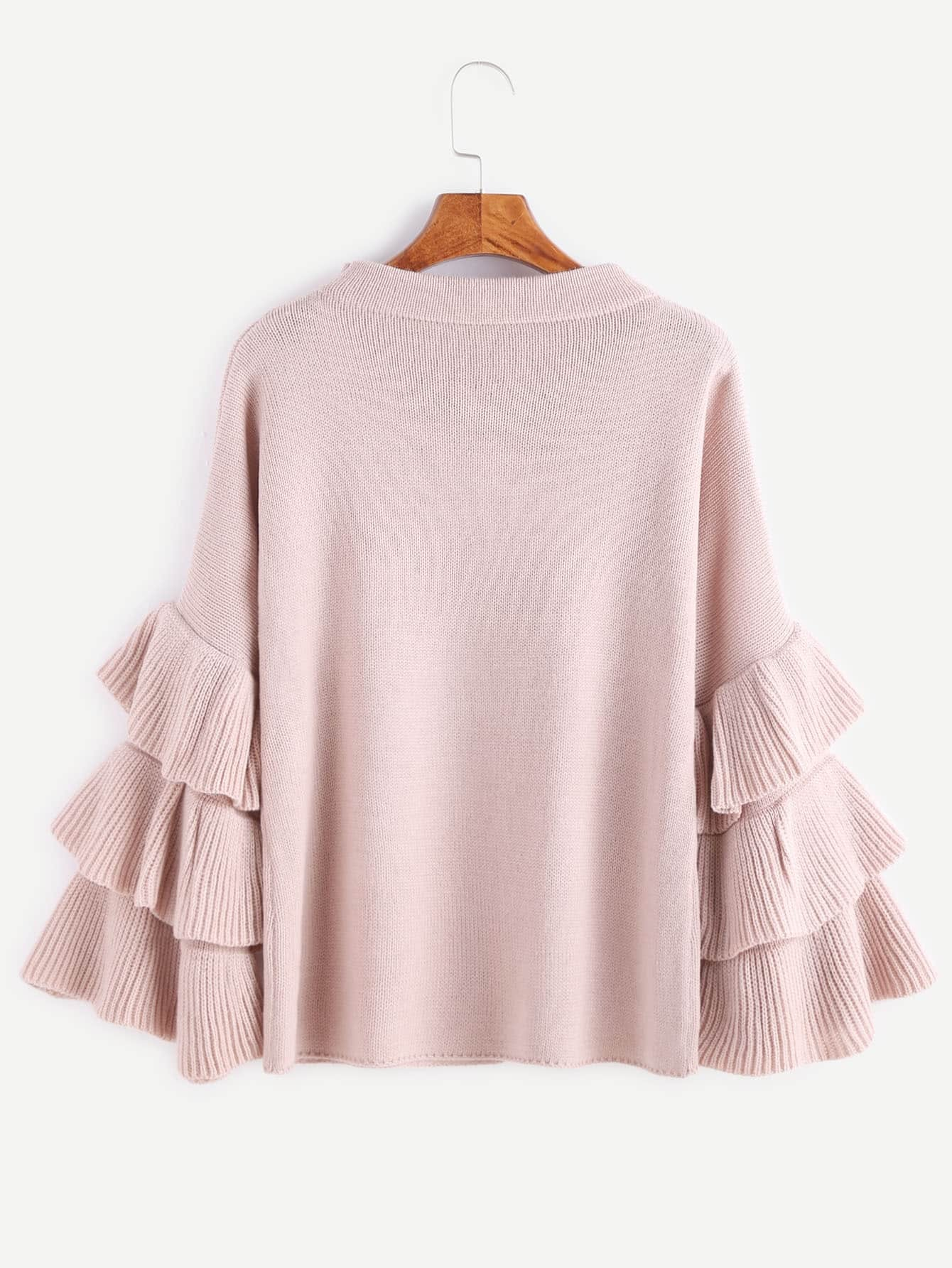 Pink Layered Ruffle Sleeve Pullover Sweater -SheIn(Sheinside)