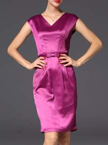 Purple V Neck Belted Sheath Dress