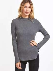 Grey Ribbed Knit Curved Hem Slit Sleeve T-shirt
