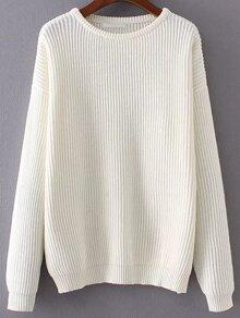 Jersey de canalé con hombro caído - blanco