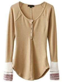 Khaki Contrast Cuff Button Up Curved Hem Knitwear