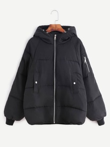Black Raglan Sleeve Zipper Hooded Padded Coat