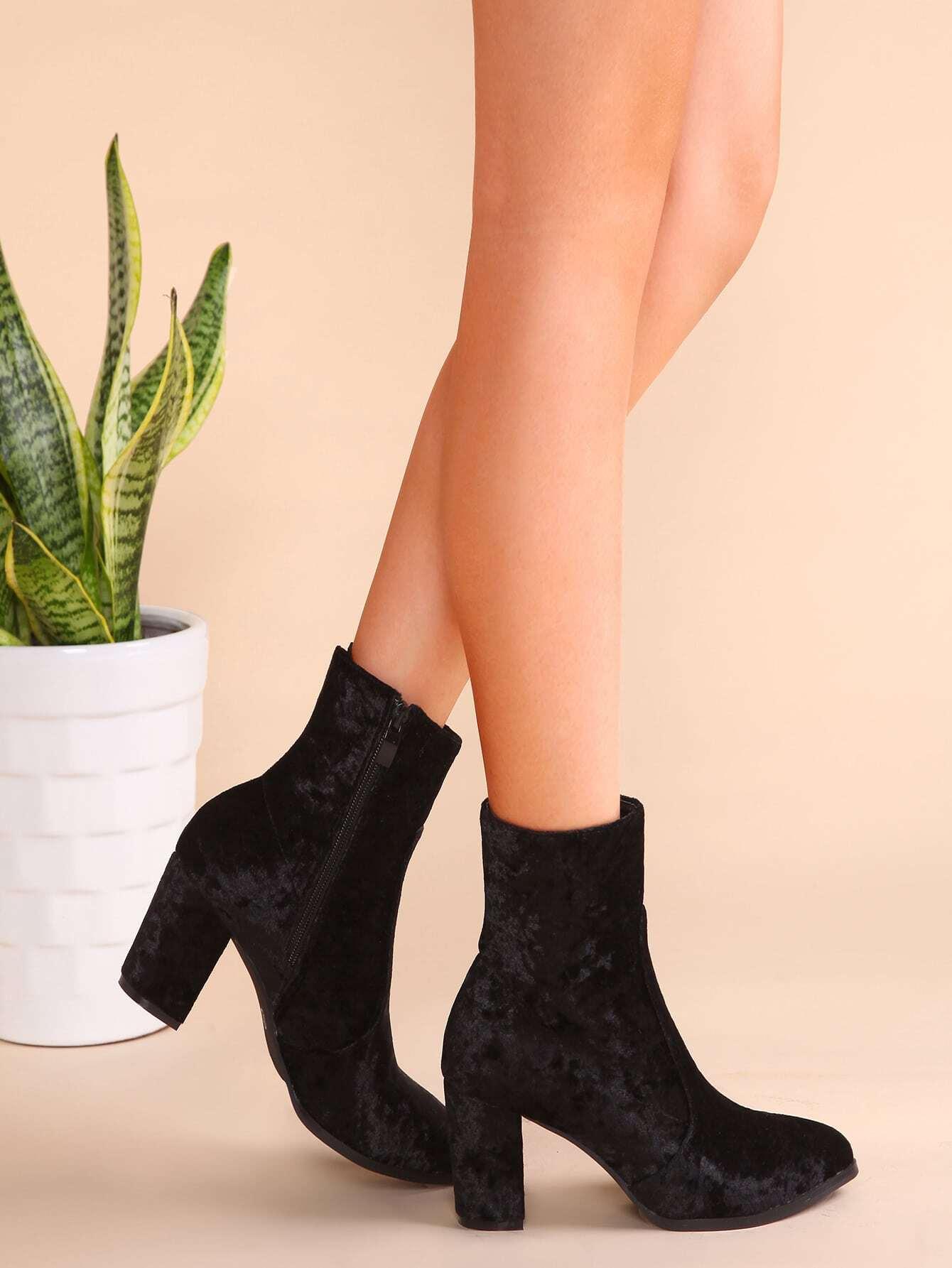 black velvet point toe side zipper booties shein sheinside. Black Bedroom Furniture Sets. Home Design Ideas
