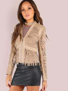 Faux Leather Suede Fringe Jacket CAMEL