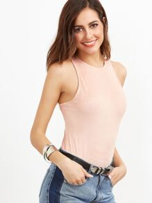 Pink Zip Back Sleeveless Bodysuit