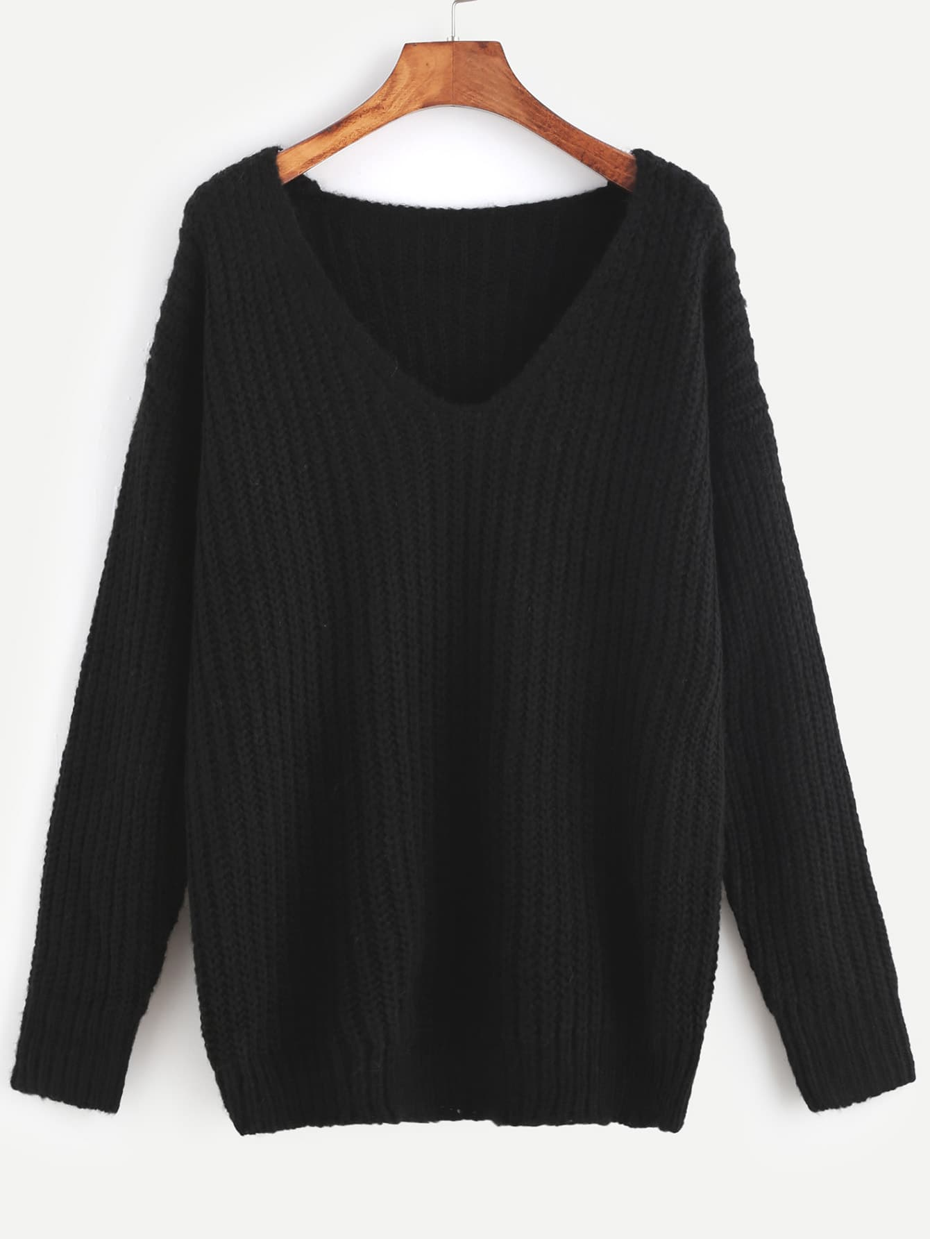 Black Ribbed Knit V Neck Drop Shoulder Sweater sweater161104401