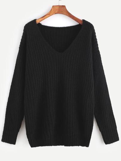 V Neckline Drop Shoulder Ribbed Knit Sweater