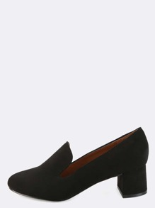 Chunky Heel Almond Toe Loafers BLACK