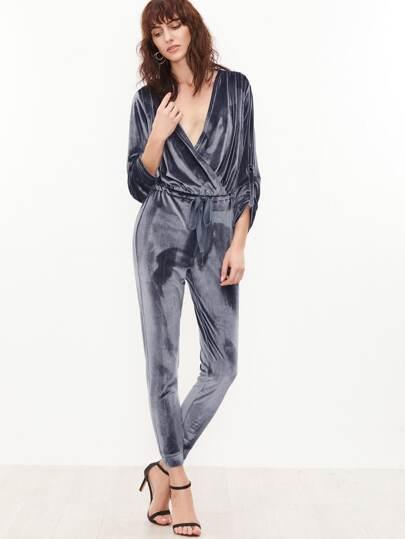Grey Surplice Front Drawstring Waist Roll Sleeve Velvet Jumpsuit
