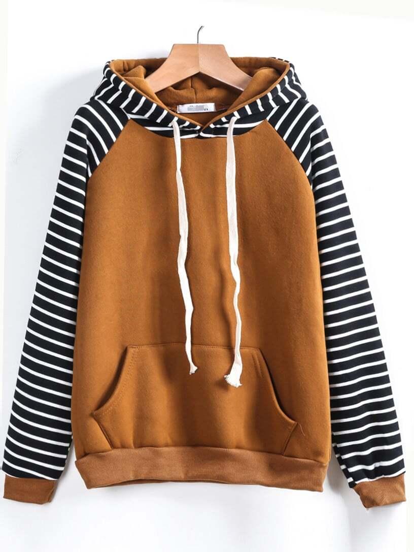 Contrast Raglan Sleeve Hooded Striped Sweatshirt sweatshirt161108110