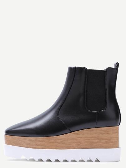 Black Faux Leather Square Toe Platform Chelsea Boots