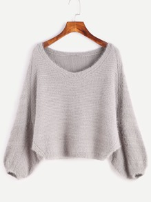 Grey Batwing Sleeve Slit Side Fuzzy Sweater