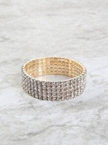 Stretch Rhinestone Metallic Bracelet GOLD