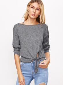 Grey Marled Knot Front Crisscross Back T-shirt