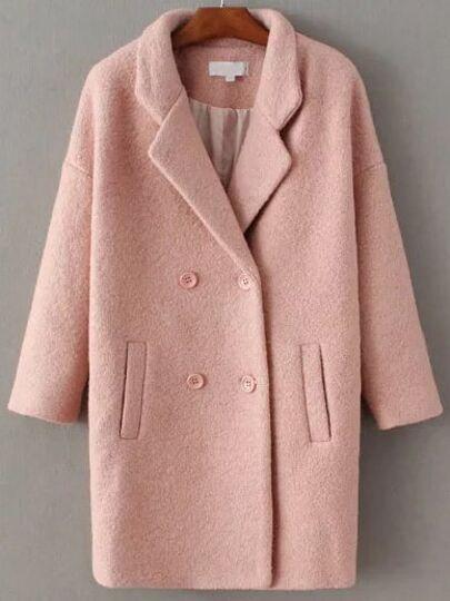Pink Double Breasted Drop Shoulder Coat