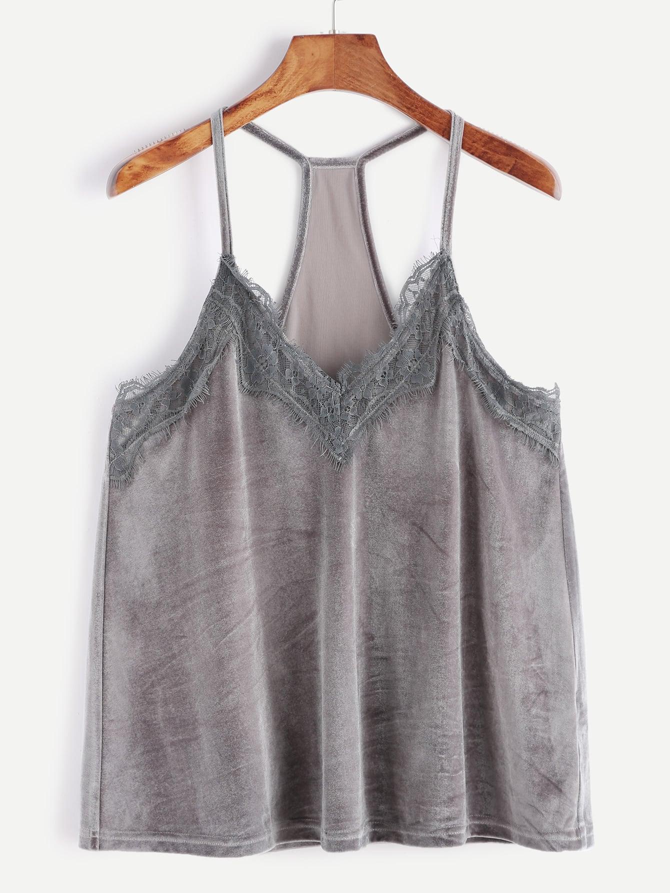 Grey Lace Trim Racer Back Velvet Cami Top vest161111701
