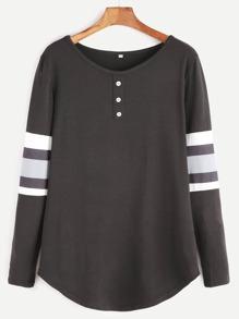 Black Varsity Striped Curved Hem T-shirt