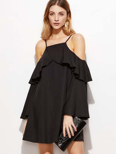 Black Ruffle Trim Cold Shoulder Dress