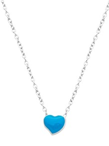 Silver Plated Blue Heart Pendant Necklace