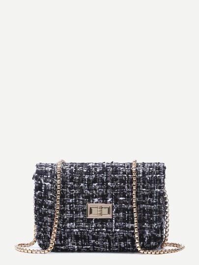 Black Woolen Box Bag With Chain Strap