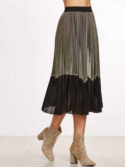 Contrast Hem Elastic Waist Pleated Skirt