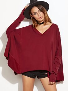 Dolman Sleeve Dropped Shoulders Oversized Sweatshirt