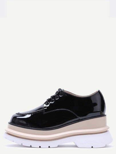 Black Patent Leather Lace Up Flatform Shoes
