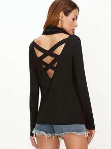 T-shirt col boule dos V avec lacet croisé - noir