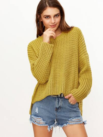 Yellow Drop Shoulder High Low Chunky Knit Sweater