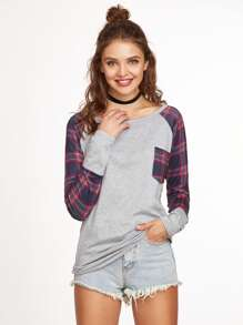 Contrast Raglan Sleeve Pocket T-shirt