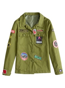 Army Green Embroidery Patch Coat With Pockets