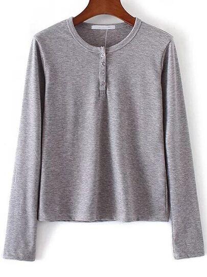 Grey Round Neck Button Knitwear
