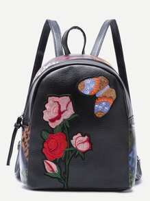 Butterfly and Rose Embroidered PU Backpack