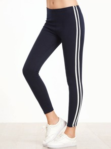 Navy Striped High Waist Leggings