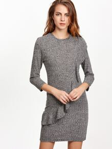 Heather Grey Marled Knit Ruffle Trim Dress