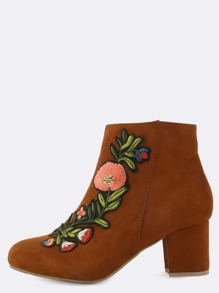 Floral Embroidered Ankle Boots CHESTNUT