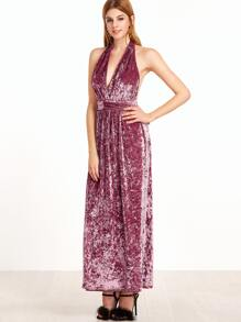 Purple Self Belted Crushed Velvet Halter Neck Dress