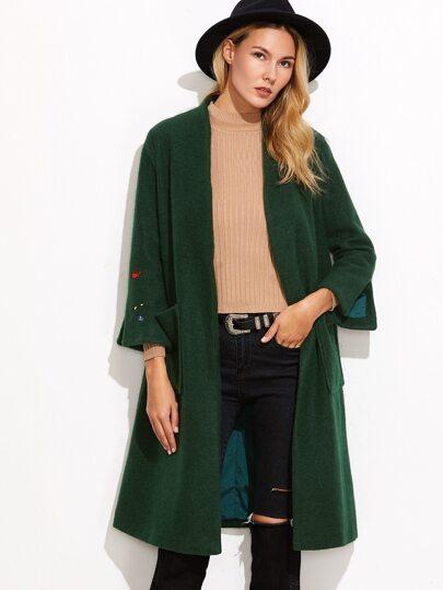 Зеленое пальто с вышивкой 59