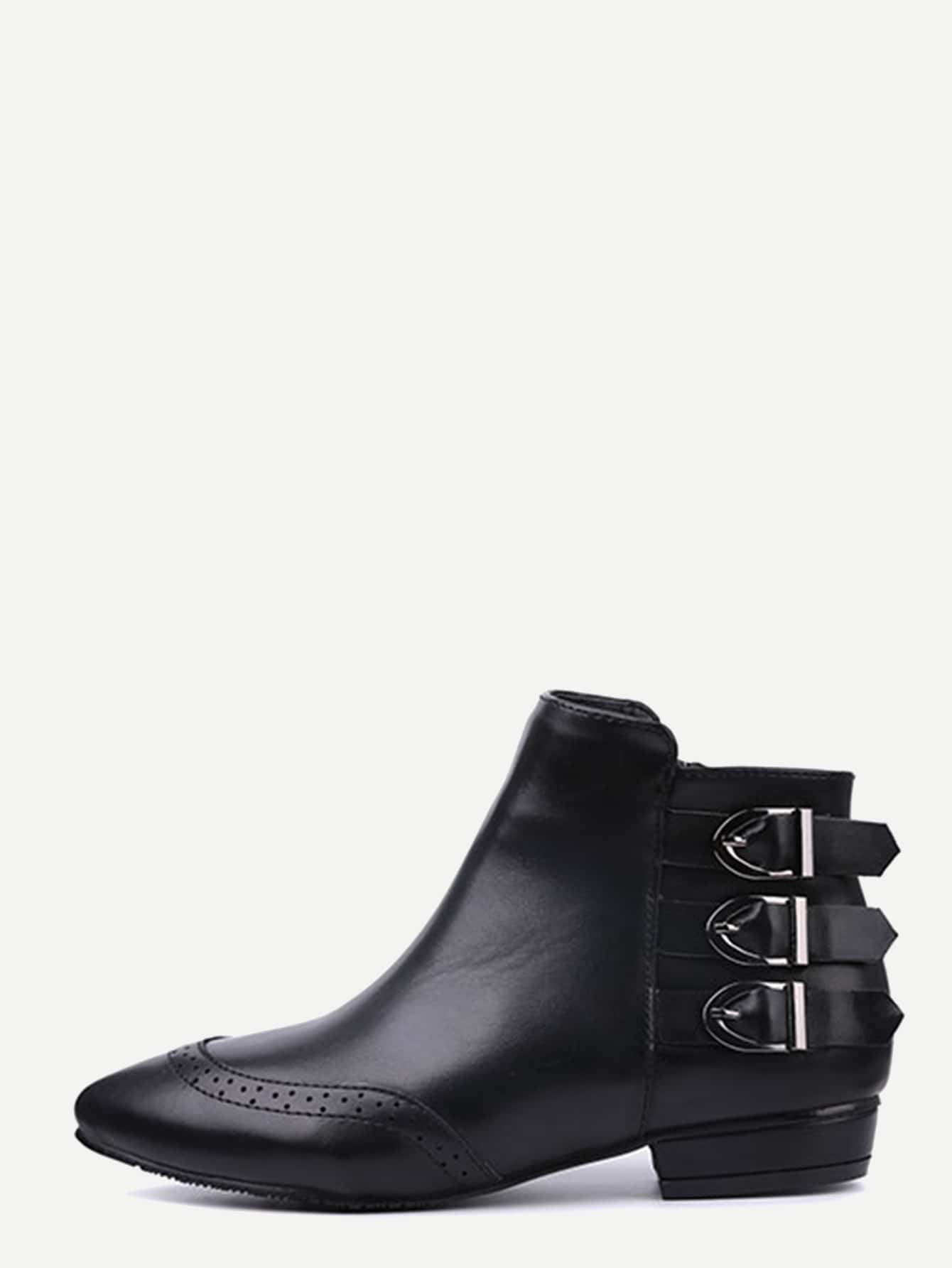 Black Buckled Strap Pointed Wingtip Ankle Boots shoes161117801