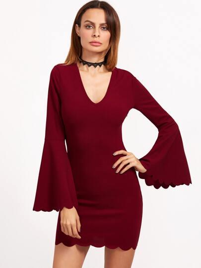 Burgundy Deep V Neck Bell Sleeve Scallop Dress