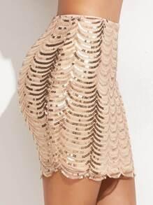Falda ajustada con lentejuelas y ribete festoneado - dorado