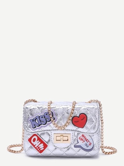 Metallic Silver Letter Patch Quilted Chain Bag