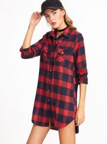 Red Plaid High Low Slit Side Pockets Shirt Dress