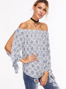 Navy Ornate Print Off The Shoulder Tied Split Sleeve Top